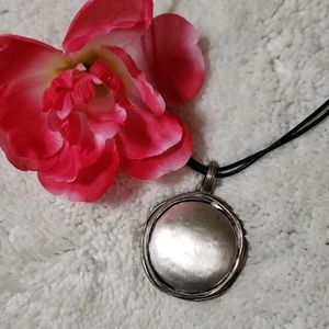unknown Jewelry - Black Rope Disc pendant